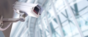 commercial video surveillance camera in use